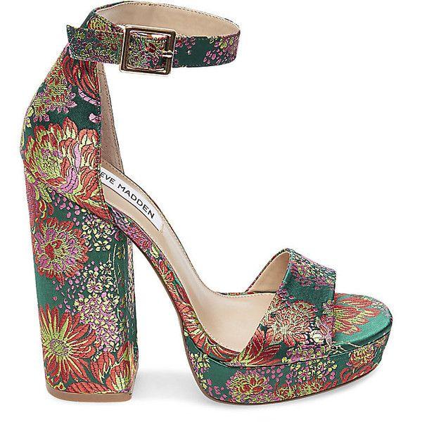 Steve Madden Jasmine Sandals ($100) ❤ liked on Polyvore featuring shoes, sandals, platform pumps, steve madden pumps, high heel platform shoes, high heel shoes and brocade pumps