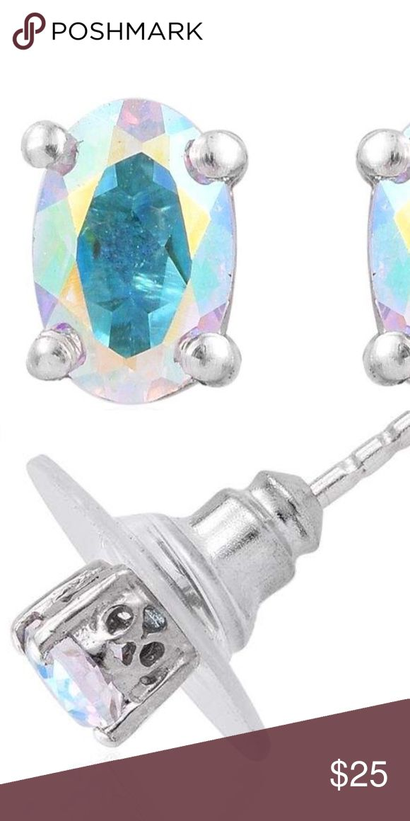 Mercury Mystic Topaz Studs Enjoy this lovely display of colors reflecting the colors of the rainbow! 1 karat total weight gen stud earrings. Platinum plated over .925 Sterling Silver. Gorgeous and flattering settings! Jewelry Earrings