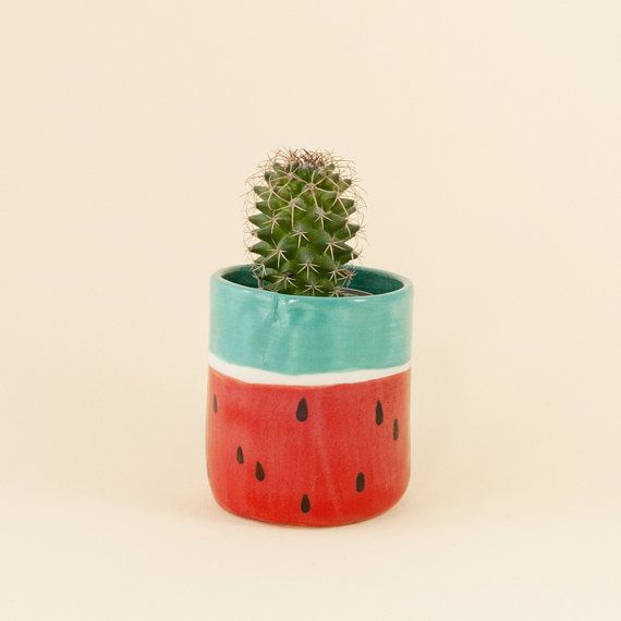 Angie - Watermelon porcelain planter and tea cup. Handmade homewares