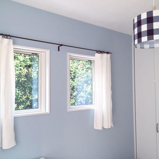 asuさんの、IKEA,DIY,新築,カーテン,リネンカーテン,リネン,子ども部屋,子供部屋,ギンガムチェック,部屋全体,のお部屋写真