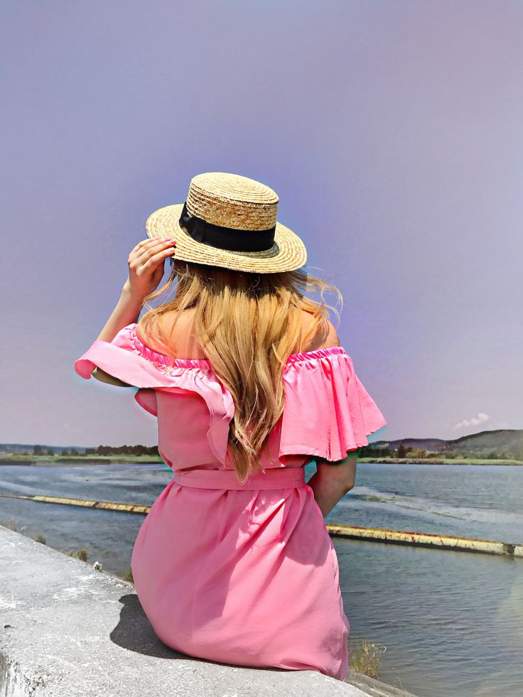 Summer outfit, pink dress off shoulder, straw hat