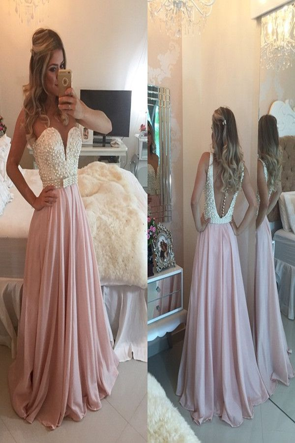 Tidetell.com Sexy Sheer A-line Floor Length Chiffon Multi Color Prom Dress With Beading Sash; full length prom dress, pink prom dress, sheer prom dress