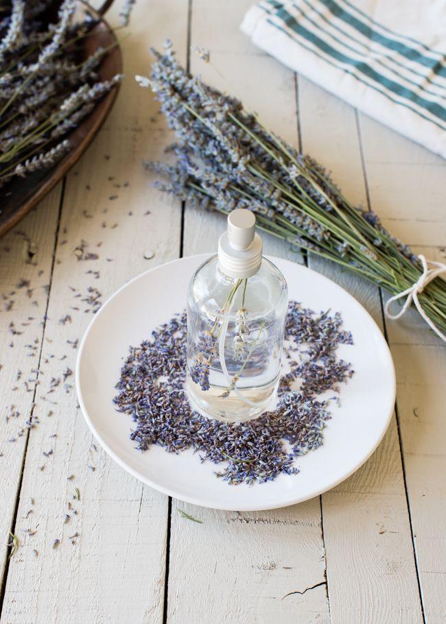 DIY lavender linen spray. 2T vodka, 2c distilled water, 15-20 drops lavender essential oil.