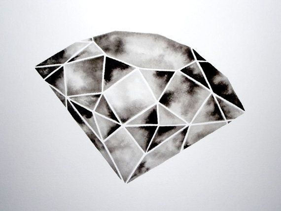 Geometric Diamond III Original Watercolor von GeometricInk auf Etsy, $90.00