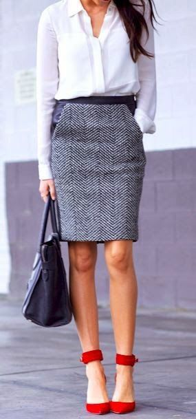 herringbone skirt. Minus the red shoes and instead some coral ones... White and coral watch