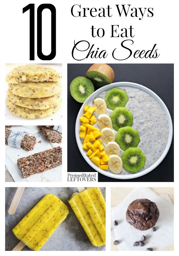 10 Great Chia Seed Recipes including chia seed pudding, chia seed muffins, chia seed jam, chia seed popsicles, and chia seed nutrition information.