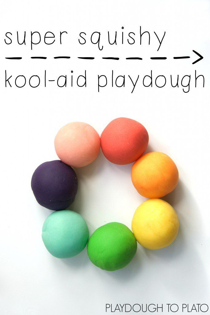 Super squishy kool-aid playdough. I love the bright rainbow colors and yummy scents in this homemade playdough recipe! Would be fun to make for St. Patrick's Day!