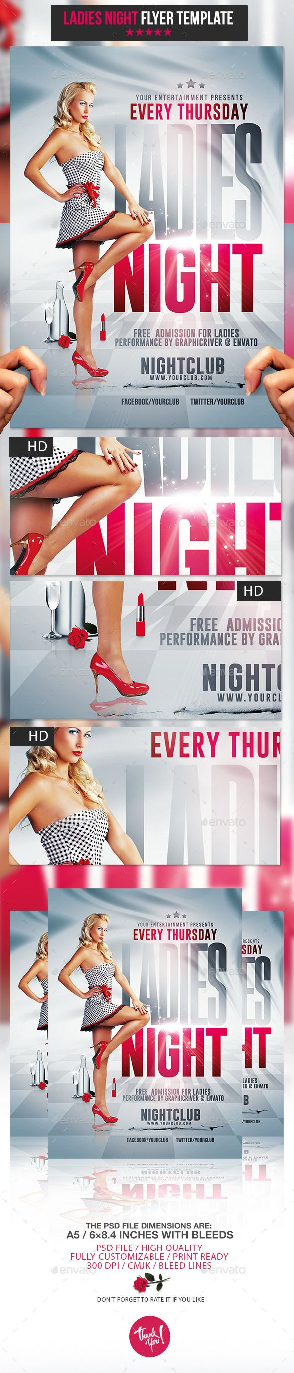 Ladies Night Party | Psd Flyer Template — Photoshop PSD #lighting #city • Available here → https://graphicriver.net/item/ladies-night-party-psd-flyer-template/10801586?ref=pxcr