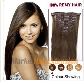 The 25 best hair extensions canada ideas on pinterest colored 16 ash brown 8 7pcs clip in indian remy hair extensions pmusecretfo Images