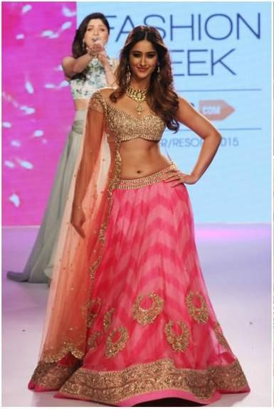 #LFW2015 the lovely @Ileana_Official D'Cruz in Anushree Reddy #Lehenga https://www.facebook.com/pages/Anushree-Reddy/1419054871703391