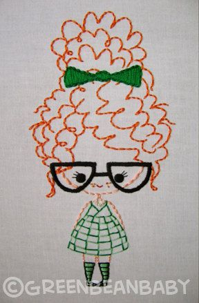 Classroom Girl with glasses Girl with braids and by greenbeanbaby, $3.50: Stitcherson Embroidery, Teas Towels, Embroidery, Patterns Sets, Adorable Patterns, Girls Glasses, Cute Embroidery Patterns, Curly Hair, Crafty Ideas