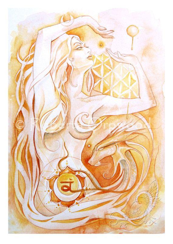 Diosa de Chakra Sacro / diosa naranja naranja amarillo arte de