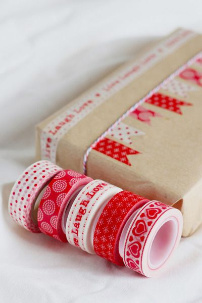 """I really like this idea for gift wrap or packaging. Masking Tape 5er Set """"red & white"""" from Mizzie's masking tape by DaWanda.com"""