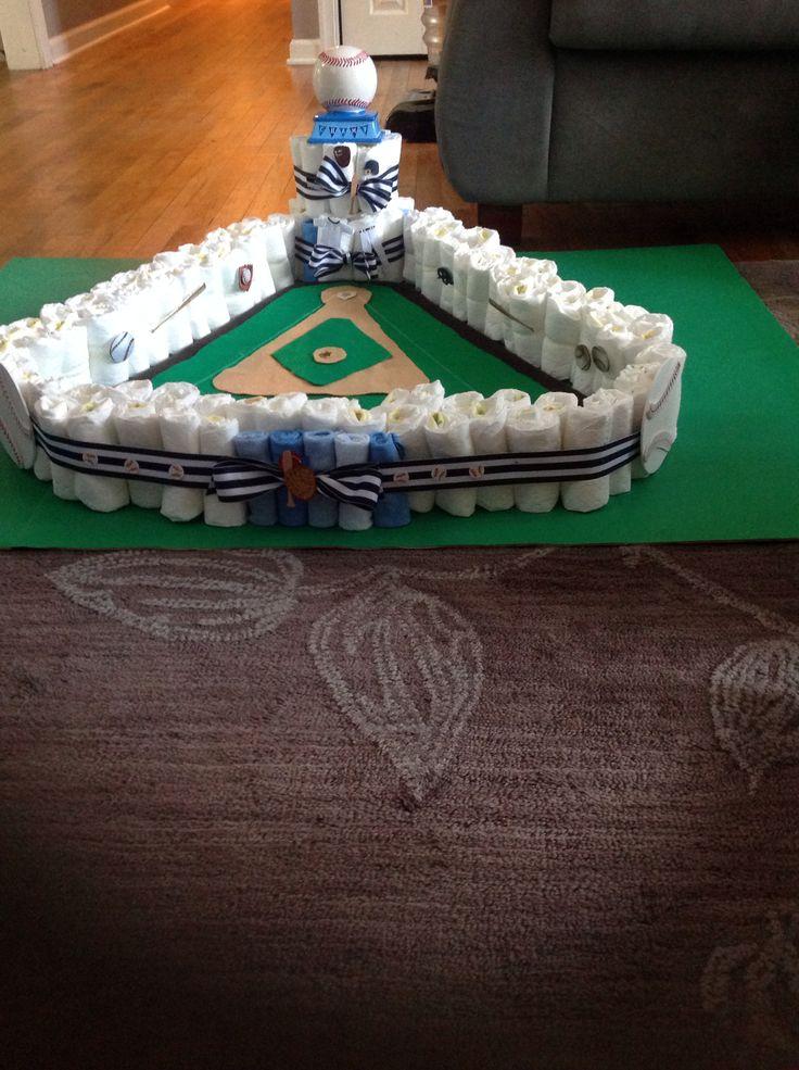 Baseball field diaper cake!!