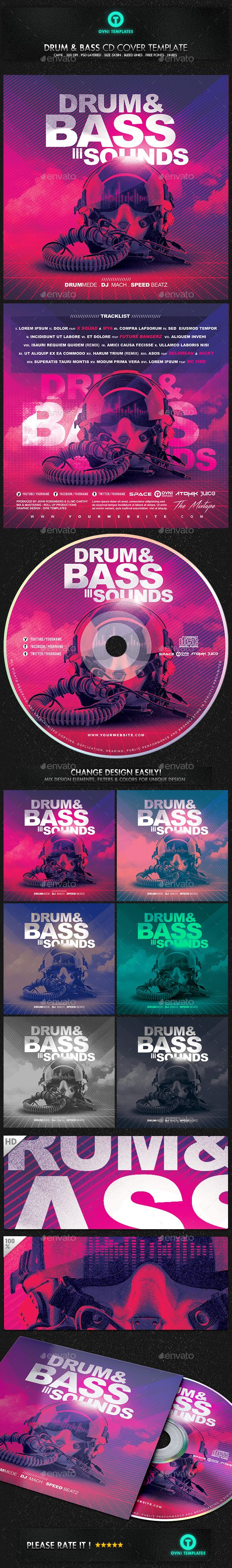 Drum Bass Dubstep Electro CD Cover Template PSD. Download here: https://graphicriver.net/item/drum-bass-dubstep-electro-cd-cover-template/17120406?ref=ksioks
