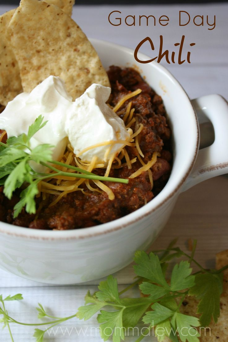 Game Day Chili:  Perfect for football parties & tailgating!  Take it out of the bowl and use it as a topping to hot dogs, baked potatoes, nachos and more!