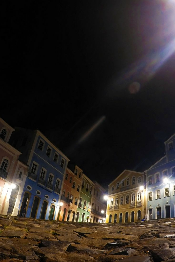 Pelourinho, historic centre of Salvador Bahia in Brazil on a quiet night.