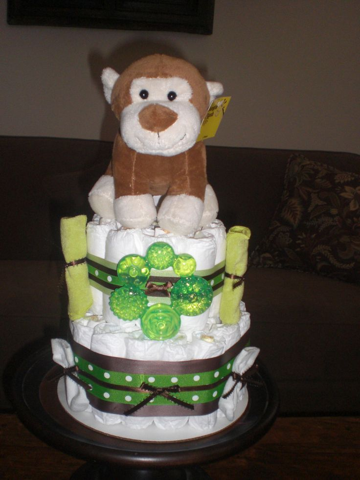 Monkey Diaper Cake Jungle Theme Baby Shower Centerpiece Or Gift Eleph