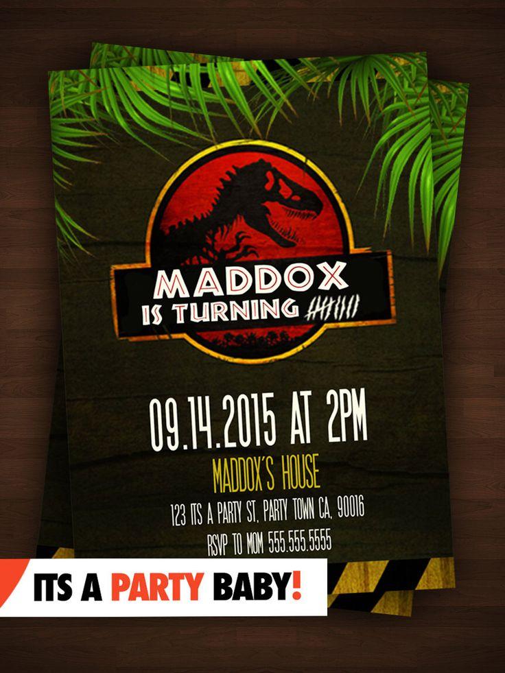Jurassic Park Party Invitation Personalized Boys