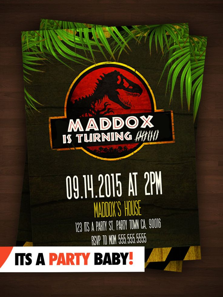 Jurassic Park Party Invitation - Personalized Boys Birthday Printable DIY Custom Digital Invites by ItsyourPartyBABY on Etsy https://www.etsy.com/listing/243511692/jurassic-park-party-invitation