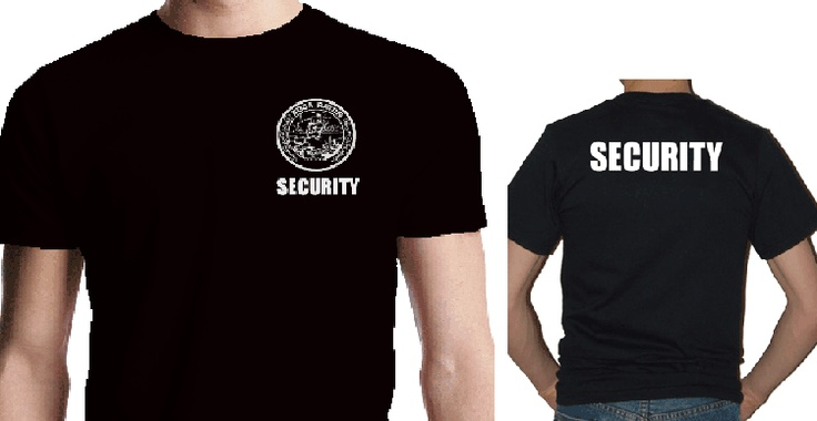 Customized security tee shirts are printed with the word for Tee shirt logo printing