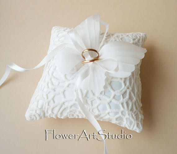 wedding ring pillow ivory butterfly ring pillow wedding ring - Wedding Ring Pillow