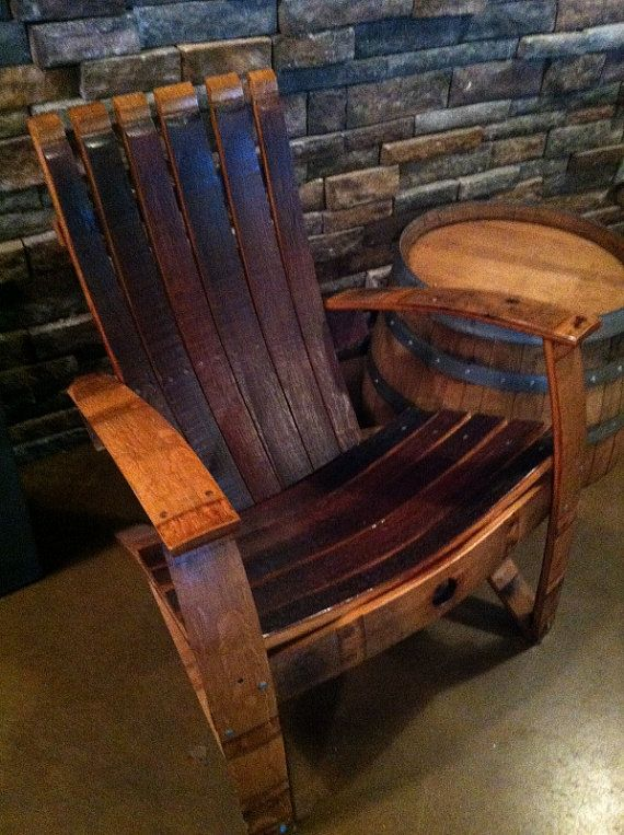 Rustic Adirondack Chair Reclaimed French Wine Barrel Staves Handmade Primitive on Etsy, $700.00