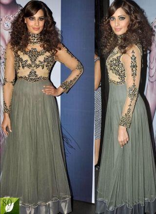 Grey Bipasha Net With Resham Work Bollywood Suit