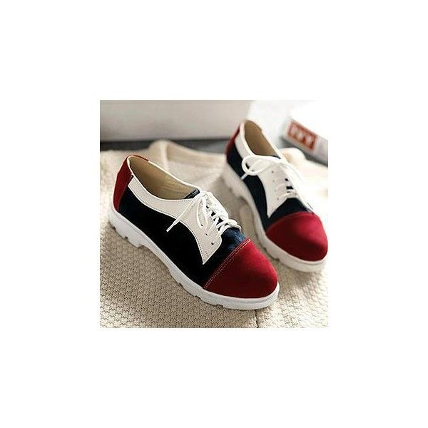 Color-Block Oxford Shoes (51 CAD) ❤ liked on Polyvore featuring shoes, oxfords, footware, wingtip oxfords, red wing shoes, red wing oxford and famous footwear