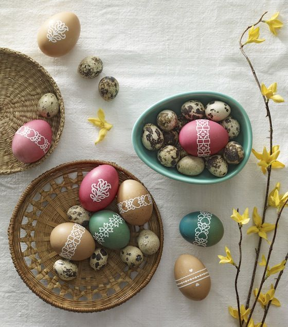 egg decor with stickers