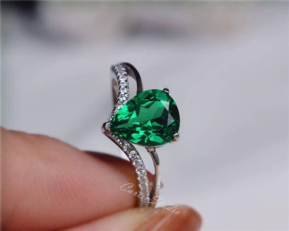 Pera Esmeralda anillo esmeralda anillo de compromiso / boda