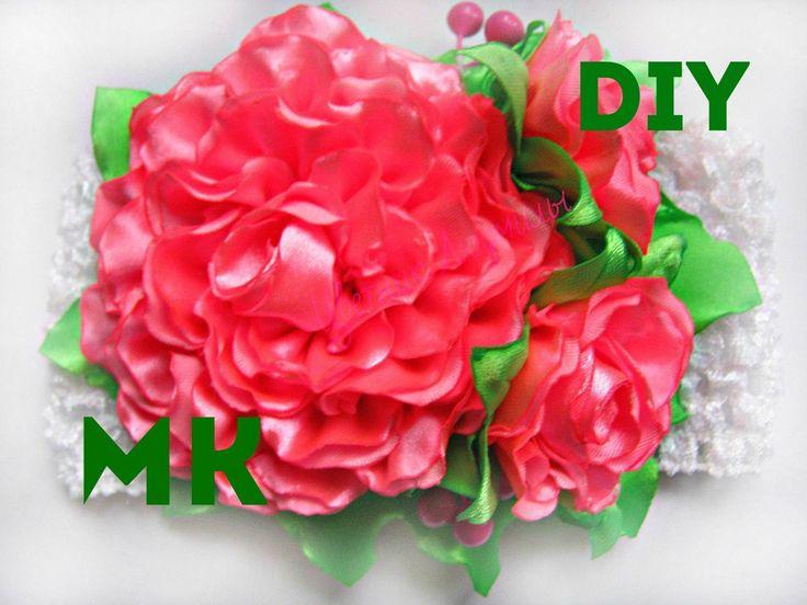 Повязка с цветами, МК. DIY Headband with Flowers. DIY Kanzashi Headband. Простые цветы из ленты