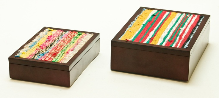 Recycled fabric wooden box inlay #box #recycle