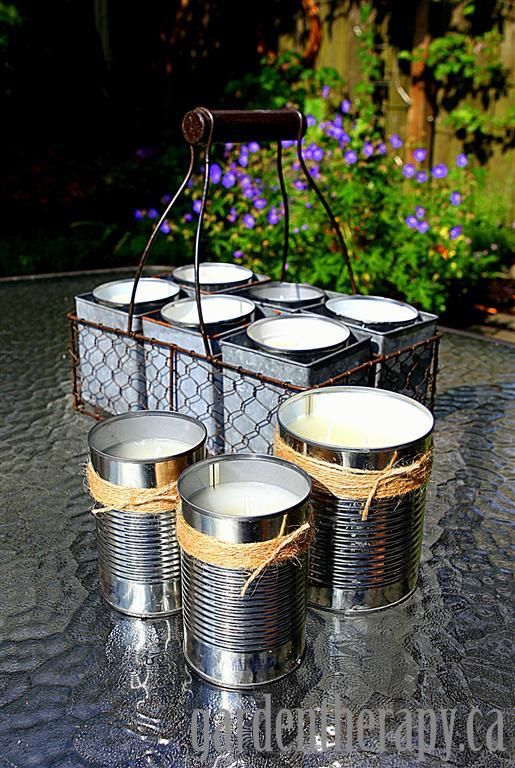 When the bugs come out...DIY Tutorial on making citronella candles for the garden, from Garden Therapy.
