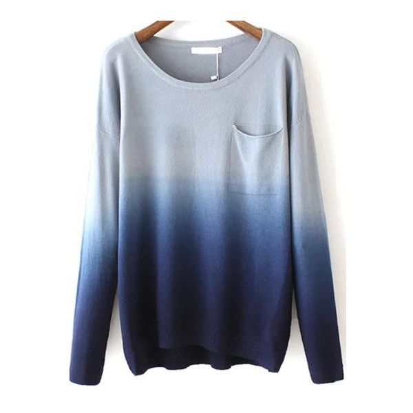 SheIn(sheinside) Navy Dip Hem Ombre Pocket Sweater ($25) ❤ liked on Polyvore featuring tops, sweaters, shirts, jumper, navy, loose long sleeve shirts, blue shirt, navy shirt, long sleeve shirts and blue long sleeve shirt