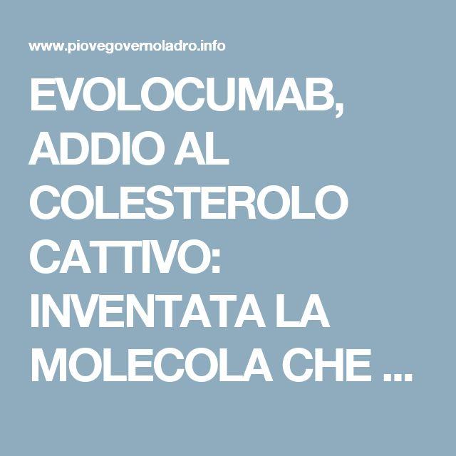 EVOLOCUMAB, ADDIO AL COLESTEROLO CATTIVO: INVENTATA LA MOLECOLA CHE NE ABBASSA I LIVELLI