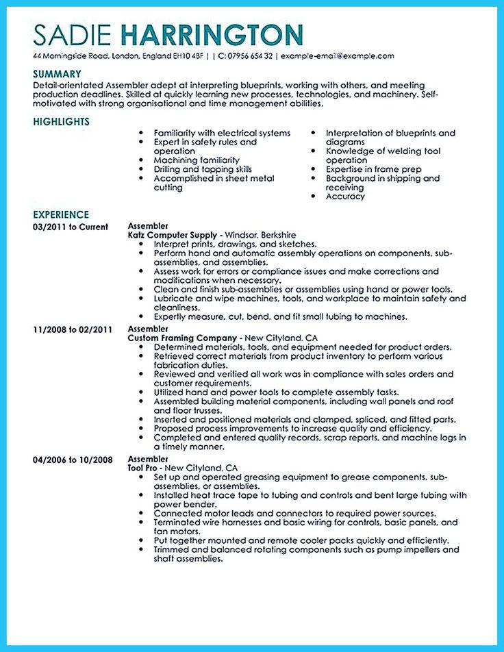 assembly line resume job description