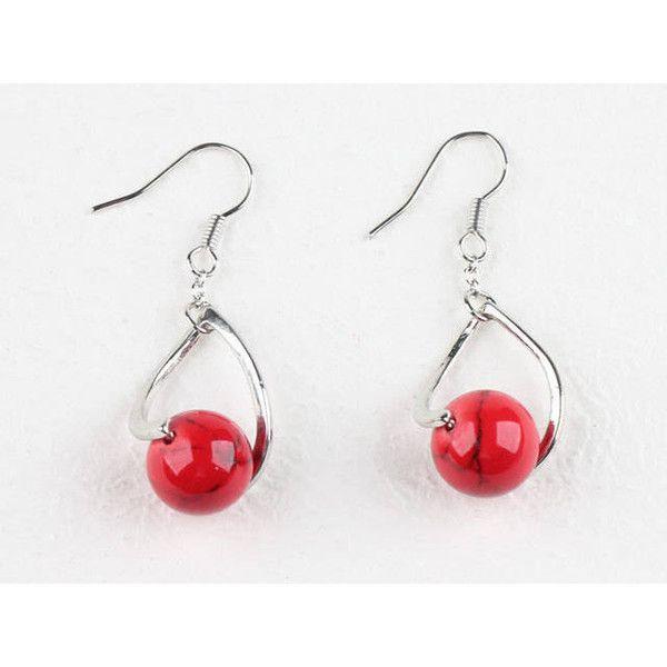 Red Earrings Jasper Earrings Genuine Stone Earrings Red Stone on... ($17) ❤ liked on Polyvore featuring jewelry, semi precious stone jewellery, stone earrings, silver earrings, semi precious jewellery and semi precious earrings
