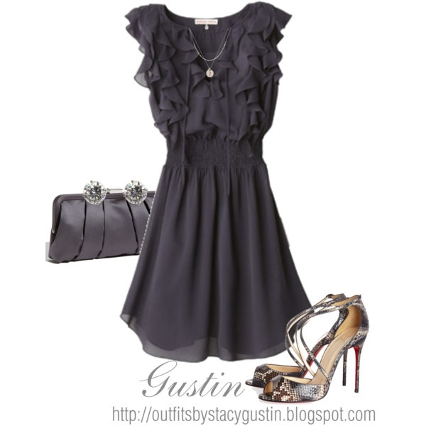 navy dress, created by stacy-gustin on Polyvore