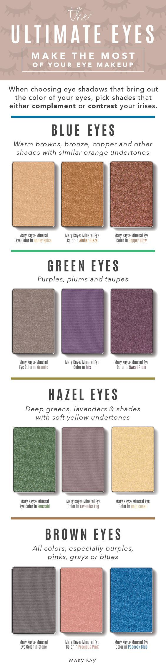 When choosing eye shadows that bring out the colour of your eyes, pick shades that either complement or contrast your irises. Play up gorgeous brown, hazel, green or blue eyes with shadows that help them stand out! | Mary Kay