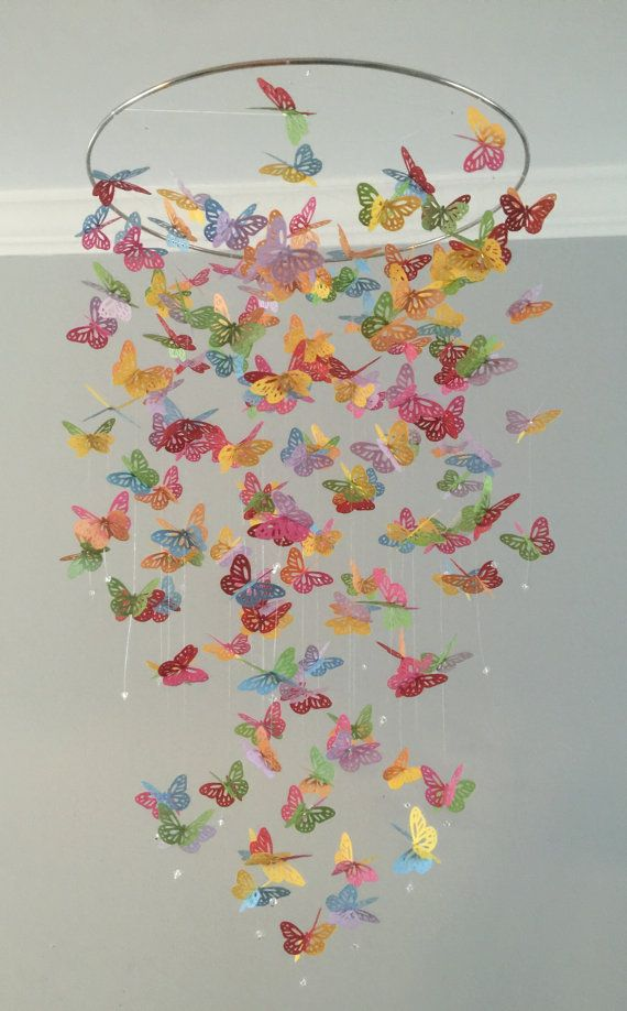 Color Splash monarch butterfly chandelier mobile by DragonOnTheFly || This is my favorite thing I've bought for my little girls room! It's so beautiful and makes me so happy!