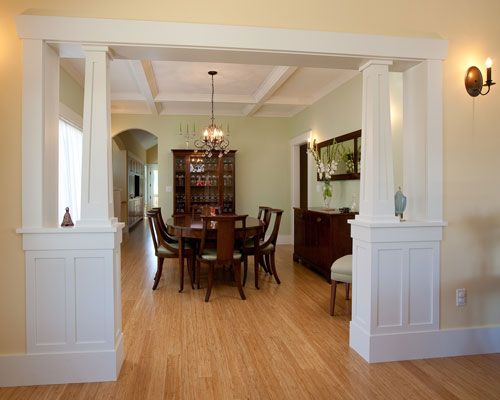 formal dining rooms with columns. the formal dining room has same tapered craftsman columns at its entry, and is rooms with l
