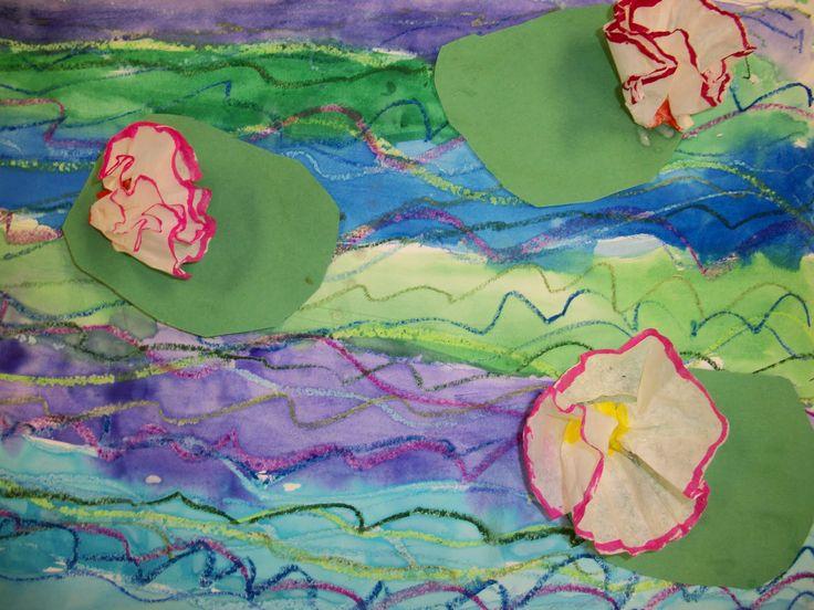 kindergarten art lesson plan kinders Monet waterlilies garden pastel paint collage
