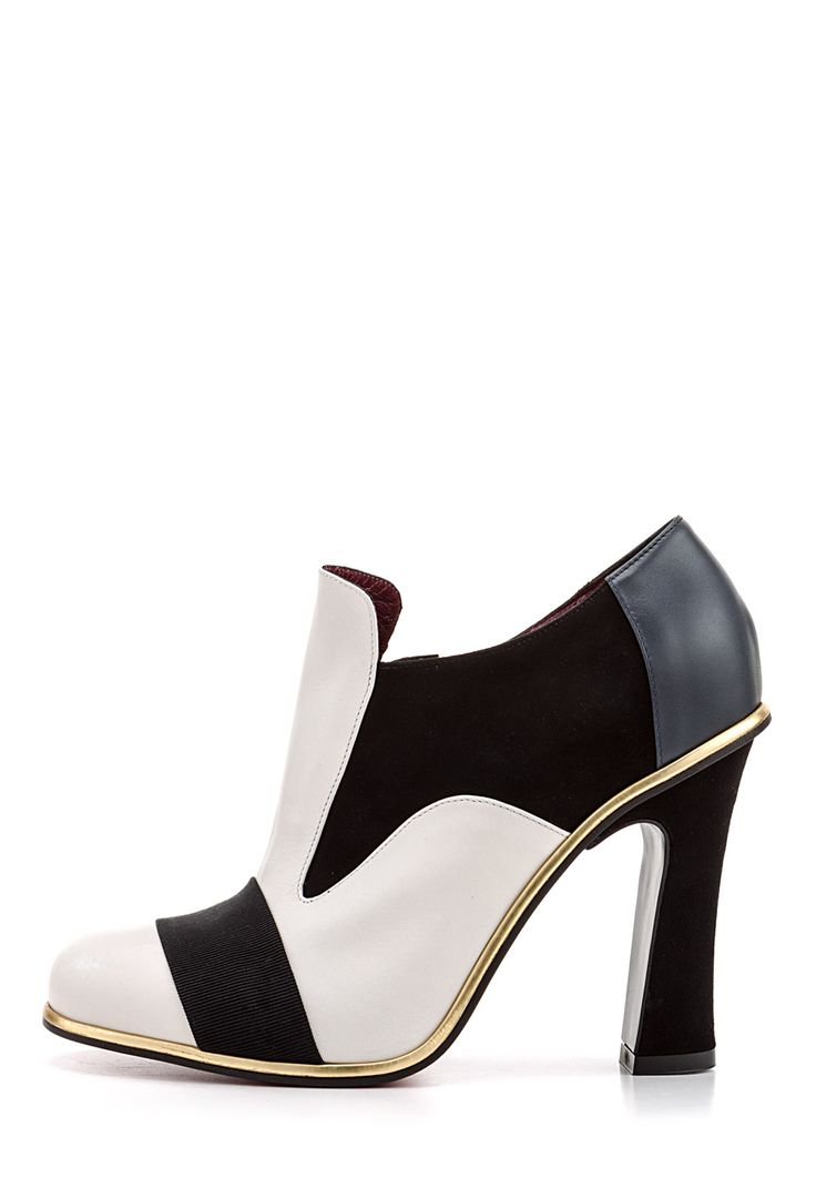 Ankle-Boots, Leder, Absatz 10 cm, schwarz/weiß
