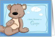 Gage - Teddy Bear Baby Shower Invitation Card by Greeting Card Universe. $3.00. 5 x 7 inch premium quality folded paper greeting card. Find Baby Shower invitations for your special event at Greeting Card Universe. A picture is worth a thousand words, so why not send a photo Baby Shower invitation this year? Allow Greeting Card Universe to handle all your Baby Shower invitation needs this year. This paper card includes the following themes: Gage, personalized baby boy baby shower ...