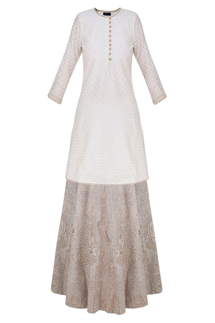 Off white zari embroidered kurta and lehenga set available only at Pernia's Pop Up Shop.