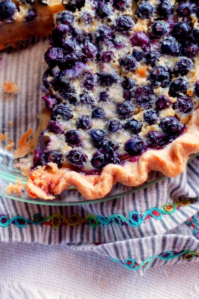 Homemade Blueberry Custard Pie...fresh blueberries nestled in a creamy custard filling, it doesn't get any better than this.