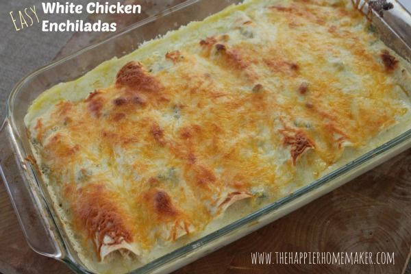 One of my favorite weeknight meals to make for the family are these amazing and easy White Chicken Enchiladas. These are very kid (and grown-up) friendly, not spicy, don't let the chiles scare you...