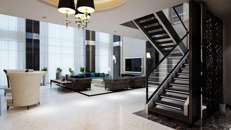 Двусветная гостиная: 5 советов по оформлению от дизайн-студии http://happymodern.ru/dvusvetnaya-gostinaya/ Проект загородного дома в поселке «Миллениум Парк»: зона отдыха смещена относительно центра гостиной, у стены обустроена зона камина.