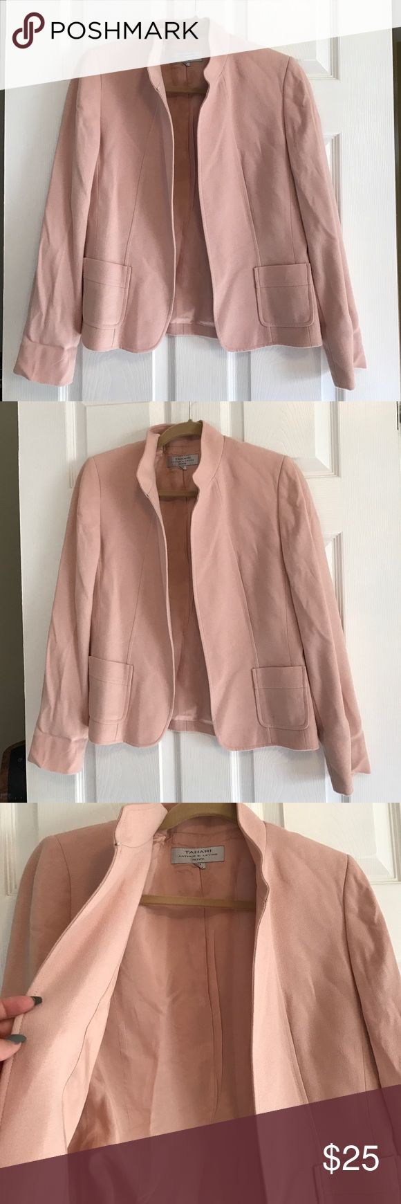Tahari pink blazer Tahari pink blazer no buttons petite size 8 great condition no damage no stains two small pockets in front Tahari Jackets & Coats Blazers